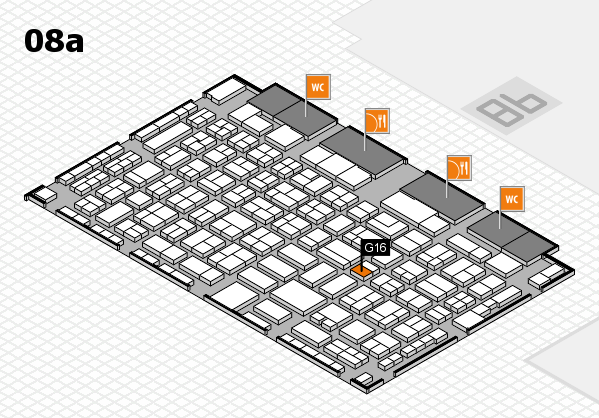 COMPAMED 2017 hall map (Hall 8a): stand G16