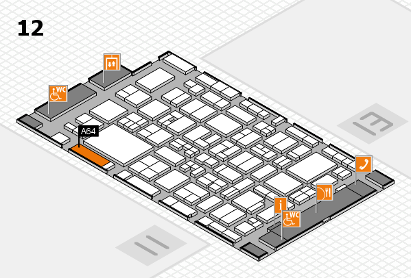 MEDICA 2017 hall map (Hall 12): stand A64