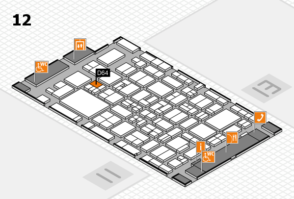 MEDICA 2017 hall map (Hall 12): stand D64
