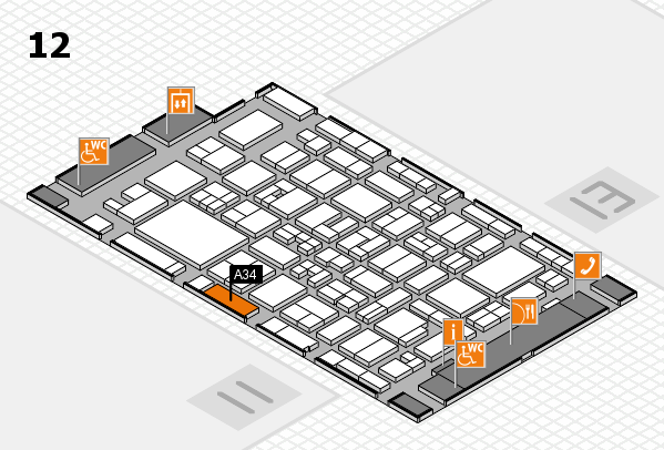 MEDICA 2017 hall map (Hall 12): stand A34