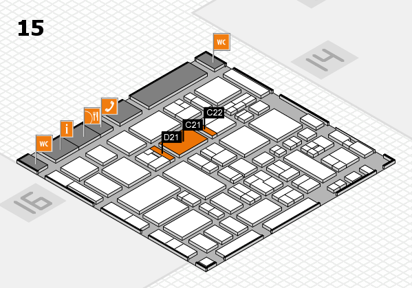MEDICA 2017 hall map (Hall 15): stand C21, stand D21