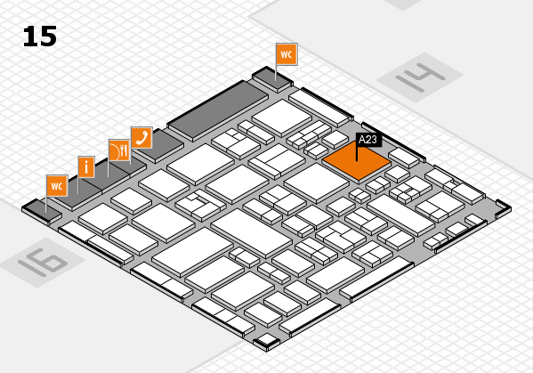 MEDICA 2017 hall map (Hall 15): stand A23