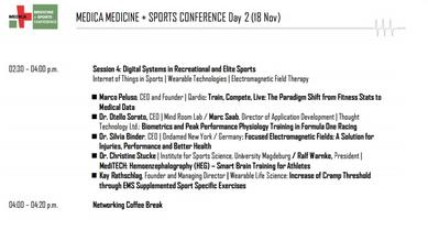 Nov 18th - Presentation at Medica sports and medicine conference 2015
