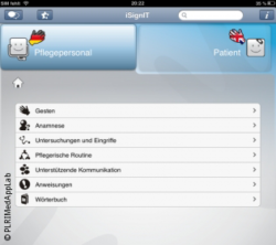 Foto: Screenshot einer medical app; Copyright: PLRI MedApp Lab