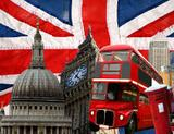 Photo: Union Jack, Red Bus, Signs of London