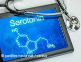 Photo: Tablet with the formula of serotonin