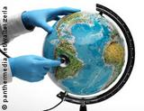 Photo: Doctor holding a stethoscope on a globe