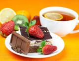 Photo: Berry-chocolate cake and tea