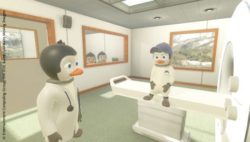Bild: Screenshot der VR-App: kleiner Pinguin mit Mutter im Wartezimmer; Copyright: Entertainment Computing Group, Uni DUE & LAVAlabs Moving Images