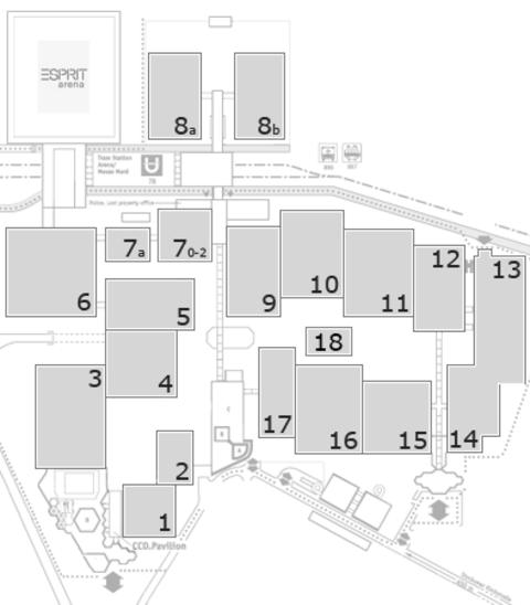 MEDICA 2016 Geländeplan: Eingang Nord