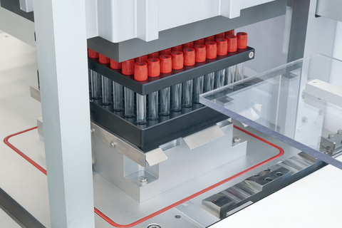 Assembly line specifically for blood collection tubes