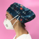 long hair surgical cap with buttons flutter