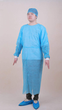 Disposable Blue PP Nonwoven Isolation Gown With Knitted Cuff