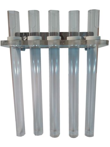 Rigid endoscope holder with 5 tubes