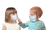 Children in medical masks