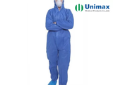 one piece 50g blue disposable coveralls with hood