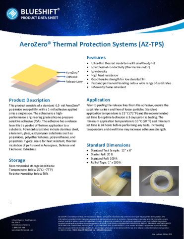 AeroZero Thermal Protection Systems Product Datasheet