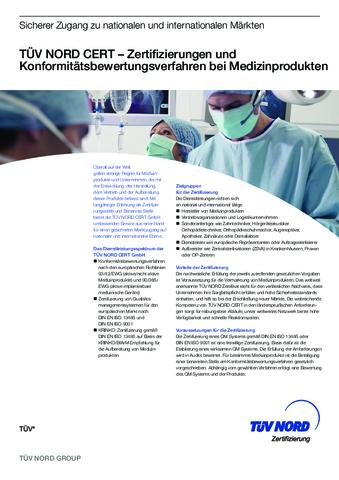 Produktdatenblatt Medizinprodukte