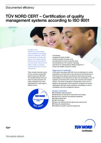 Product data sheet ISO 9001