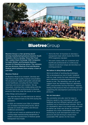 Bluetree Medical Backgrounder