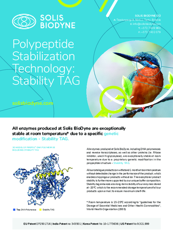 Room stabile enzymes- Stability TAG technology